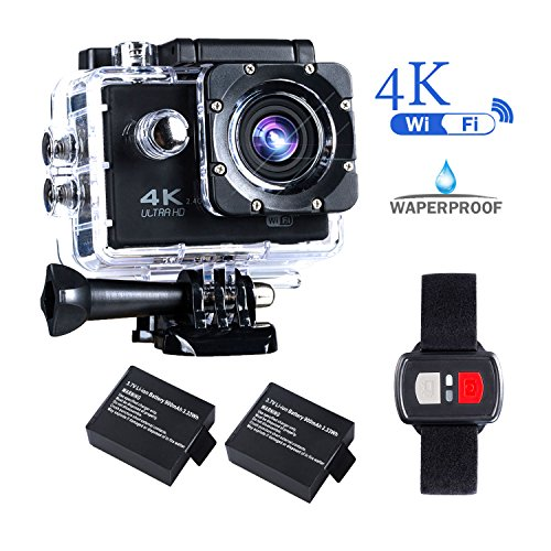 BrosFuture 4k Action Camera with Wifi 30M Waterproof Sports Camera and 2.4G Remote Contral /2 pcs Rechargeable Batteries/ 170 Degree Wide Angle- Package including All Accessories Kits,1 Yr Warranty