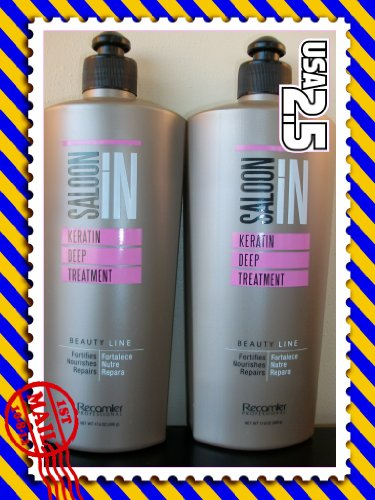 Recamier Saloon In Deep Keratin Hair Treatment Beauty Line Fortifies Nourishes Repairs | SalonIn Tratamiento Profundo fortalece Nutre Repara X2 17.6Oz-500ml