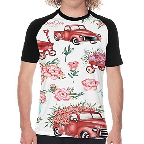 Camiseta de Manga Corta para Hombre,Otoño Imágenes Prediseñadas Moda Imágenes Prediseñadas Flores Planificador Pegatinas,Divertidas Imprimir gráfica con Cuello Redondo y diseño Creativo S
