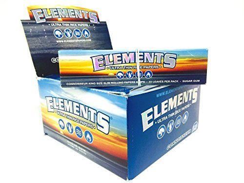 24 Full Box Elements Ultra Thin Rice Papers Connoisseur King Size Slim & Tips
