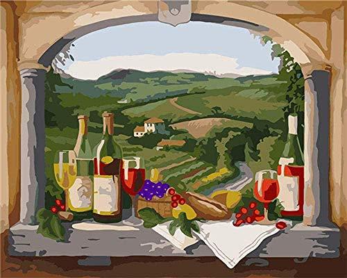 Malen erwachsene Kinder Weinglas Leinen Leinwand Diy Ölgemälde Geschenk Diy handgemaltes Ölgemälde Geschenk (kein Rahmen)