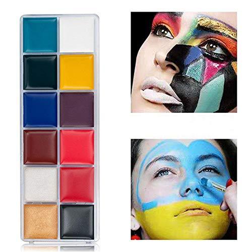 Geggur 12 Couleurs Palette De Maquillage De Fête,Fard Maquillage,Face Painting Kit,Bodypainting, Peinture Pour Le Visage, Cadeau Parfait Pour Carnaval, Halloween Pour Enfants Et Adultes Non-Toxique