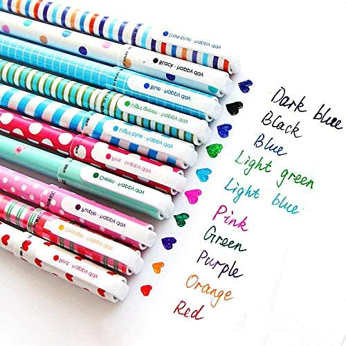 10 Multi Colors Cute Pens for Girls, Colorful...