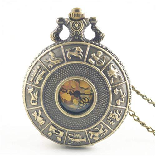 Dynamovolition Twelve Constellations Vintage Antike Quarz Taschenuhr mit rundem Zifferblatt Halskette Anhänger Uhr für Herren Damen besten Geschenke