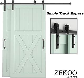 ZEKOO Bypass Sliding Barn Door Hardware Kit, Single Track, Double Wooden Doors Use, Flat Track Roller, Low Ceiling (4 FT Single Track Bypass)