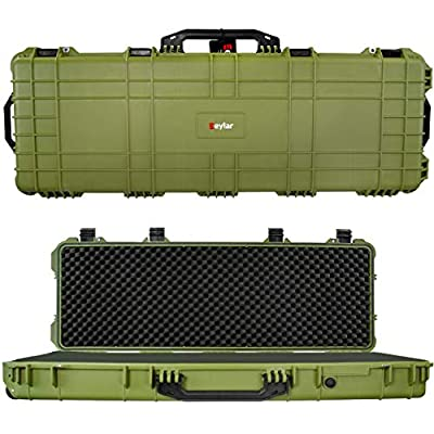 Eylar Protective Roller Tactical Rifle Hard Case with Foam, Mil-Spec Waterproof & Crushproof, Two Rifles Or Multiple Guns, Pressure Valve with Lockable Fittings OD Green