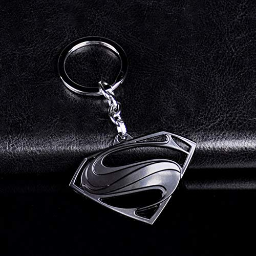 Wonderful Day Superman S Logo Charm Schlüsselbund Metall Avengers Super HeroSchlüsselanhänger Schlüsselring Auto Schlüsselhalter Schmuck Chaveiro Schmuckstück Geschenk, D21 Schwarz