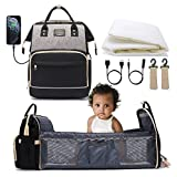 Adebo Baby Diaper Bag Backpack with Fodable Baby Crib  3 in 1 Upgraded Muti-Functional Mommy Bag with Changing Station   Nappy Bag with USB Charging Port  Portable Baby Bassinet Travel Bag(BlackGrey)