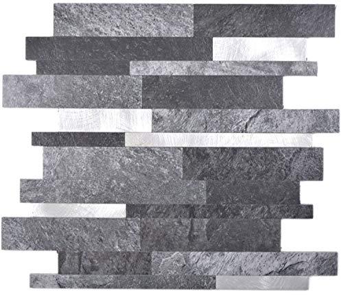 Selbstklebende Mosaikmatte Verbund Vinyl Steinoptik Black Qaurtz/Silver für WAND KÜCHE Fliesenspiegel Thekenverkleidung Wandverblender