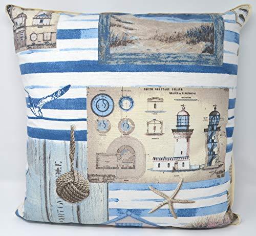 Bada Bing 2er Set Kissen Anker Steuerrad Blau Maritim Sofakissen Zierkissen Deko 09//10