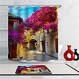 Das Haus In Der Stadt. Blumen. Duschvorhang: 180X180 cm. Bodenmatte: 40X60. Duschvorhangmattenkombination Wasserdicht Mit Haken Badkombinationsvorhangset