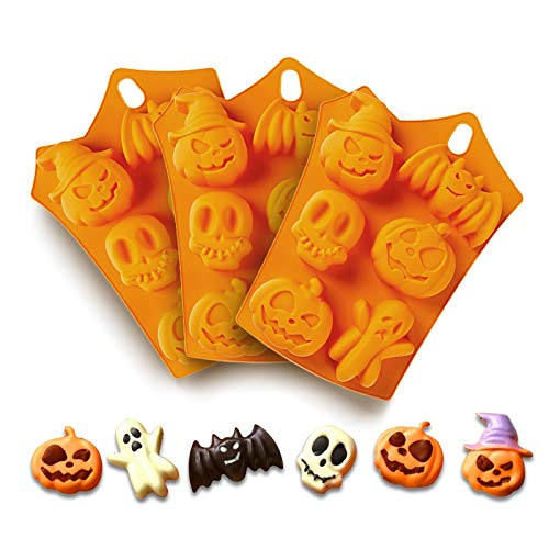Halloween Candy Molds - Chocolate Molds Silicone with Ghost Pumpkin Bat & Witch Hat Gummy Cookie Molds Ice Cube Jello Jelly Cake (ORANGE-3PACK, 198)