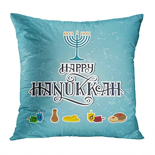 Hanukkah Throw Pillow Cover,Happy Hanukkah Hand Draw Elem Candles,Cushion Cases Shams for Indoor Outdoor Home Decor Living Room Bedroom Office Cotton Pillowcase,18'x18'
