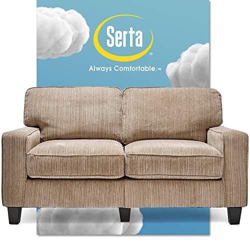 "Serta Palisades Upholstered Sofas for Living Room Modern Design Couch, Straight Arms, Soft Fabric Upholstery, Tool-Free Assembly, 61"" Loveseat, Beige"