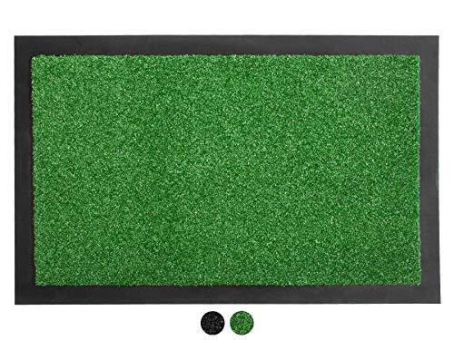 Primaflor - Ideen in Textil Schmutzfangmatte Verona Fußmatte Grün 40x60 cm - Waschbare, rutschfeste Kunstrasen Matte für Innen & Außen, Sauberlauf-Matte, Küchenläufer, Fußabtreter und Türvorleger