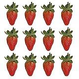 SINGFNH Lot de 12 fraises rouges réalistes en plastique pour décoration de maison, cuisine, magasin, supermarché