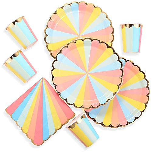 EKKONG 48-teiliges Party-Set Rainbow, Einweg Geburtstag Geschirr Kit, Teller Becher für 16 Kinder Geburtstagsgeschenk, Kindergeburtstag, Party Deko, Baby Shower