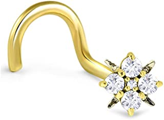 18k Solid Yellow Gold Nose Ring, Stud, Nose Screw, or L Bend 4.5mm Flower Cluster 20G