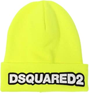 DSQUARED2 Men's Accessories Fluo Yellow Beanie with Logo FW 19-20