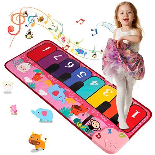 Shayson Piano Matte Tanzmatte Kinder, Baby Spielzeug Musikmatte mit 5 Instrumenten Tierstimmen,8 Klaviertastatur für Jungen Mädchen Kinder(Rot)