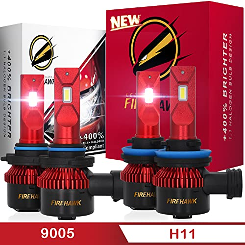 Firehawk 9005/HB3 and H11/H8/H9 LED Bulbs Combo Kit 30000LM, 2021 New Japanese CSP 6000K Cool White IP68, Halogen Replacement Conversion Set, Pack of 4