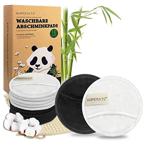 10Pcs Discos Desmaquillantes Reutilizables, Algodones Desmaquillantes Lavables y Ecologicos, Hechos de Bambú y Algodón para Removedor, Aptos Para Todo Tipo de Pieles, con Bolsa de Lavado