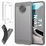 Ttianfa Coque Compatible Nokia 7.1 Etui Cover Housse 【2X】 Verre Trempé,Fibre de Carbone...