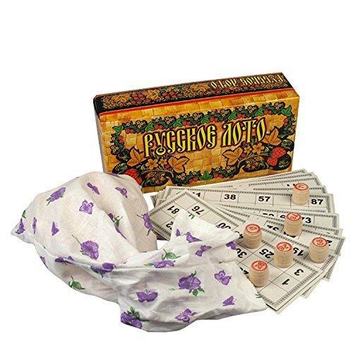 rukauf Russian Loto/Lotto Game Set with Wooden Shapes Bingo Bingo Family Game