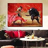 Torero español Abstracto Pintura al óleo Cuadros de Pared de Sala de Estar Lienzo Grande Pintura de Arte de Pared 60x90cm Sin Marco
