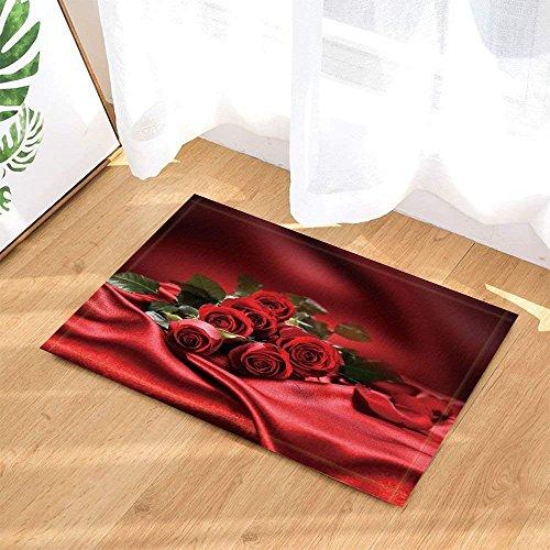 JYEJYRTEJ Romantische Valentinstag dekorative Rose Blume rot seidenblatt rot seidenschlupf fußmatte innentür Matte Bad Matte 15.7x23.6in