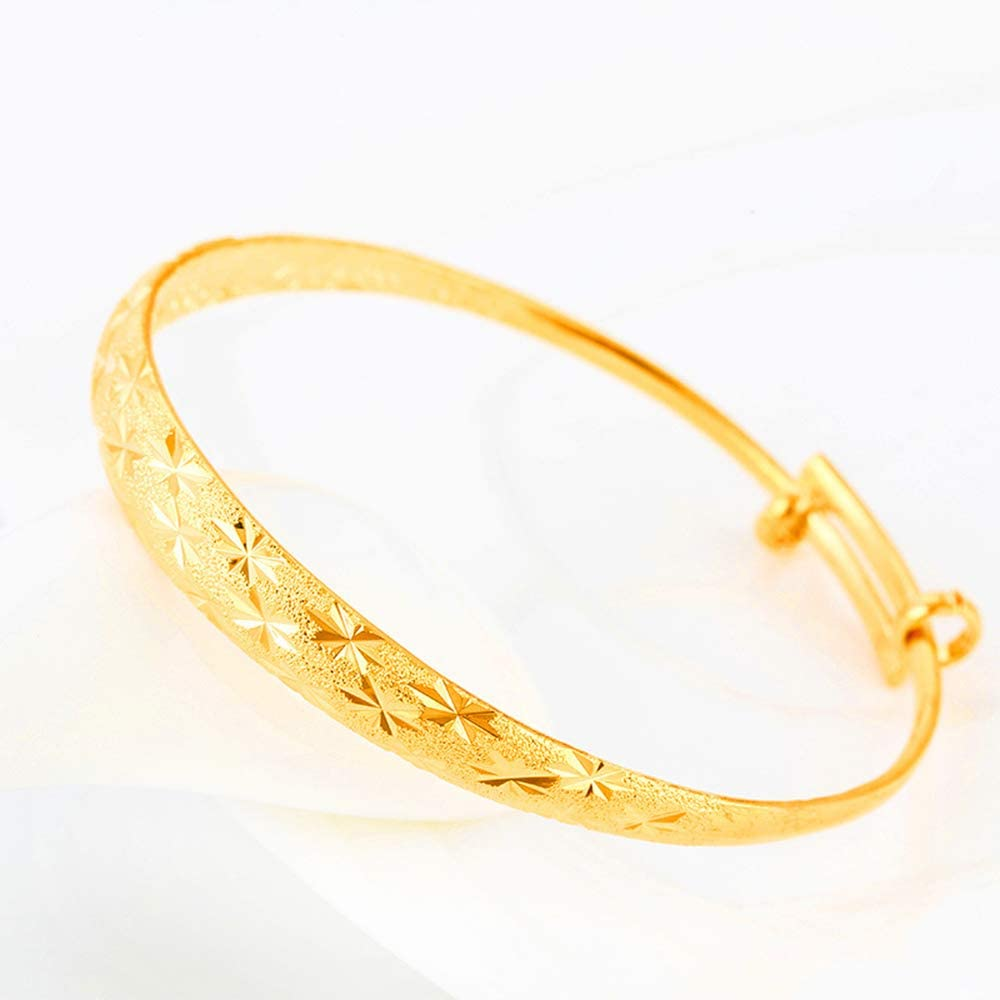 Gold Bangle Bracelets allentian Gold Bracelets for Women Gold-Color Plated Alloy Adjustable Chain Jewelry