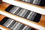 Millenium Stair Tread Treads Indoor Skid Slip Resistant Carpet Stair Tread Treads Geometric Design Machine Washable 8 ½ inch x 30 inch (Set of 13, Squares Grey Black)