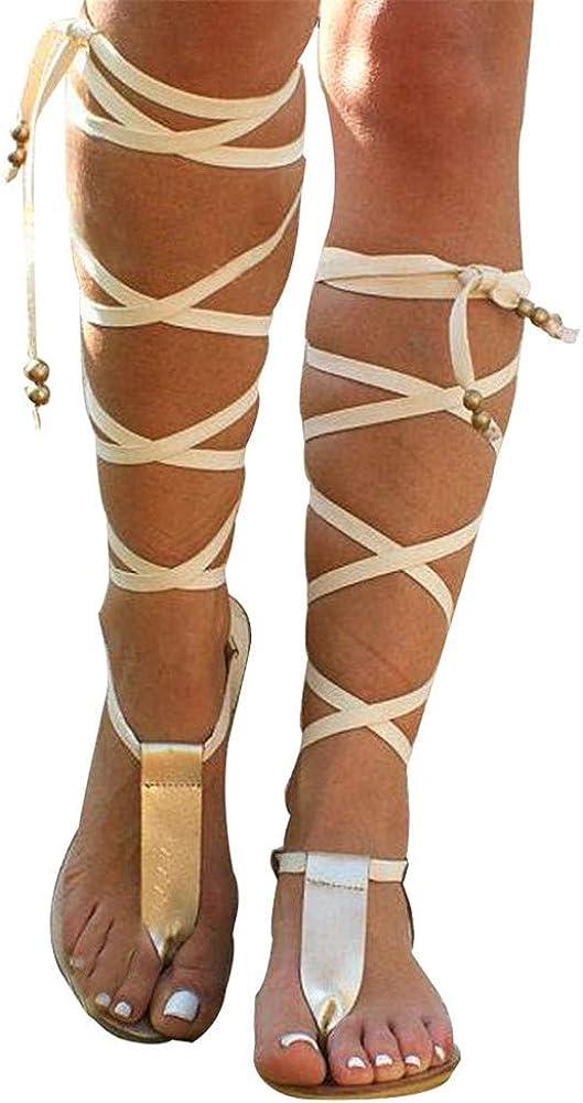 Sandals for Women Lace Up,Gladiator Sandals Platform Summer Beach Strappy Criss Cross Open Toe Knee High Flat Sandal