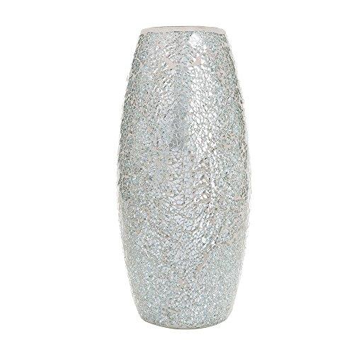 London Boutique Jarrones para Flores Hechos a Mano, diseño de Mosaico con Purpurina, Cristal Brillante Decorativo, Regalo (Plata)
