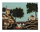 Paisaje de Cuadro en Lienzo Henri Rousseau con puente Lienzos Decorativos xxl, Cuadros Decoracion Salon, Decoracion de Pared,Laminas para Cuadros (30x39cm 12 'x15', sin marco)