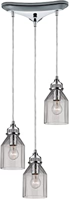"ELK Lighting 46019/3 Danica Collection 3 Light Chandelier, 10 x 10 x 10"", Polished Chrome"