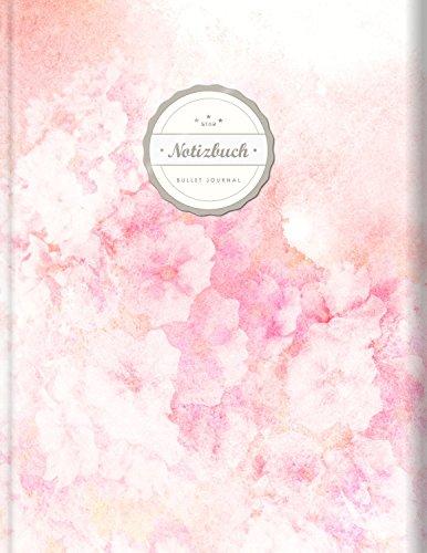 "BULLET JOURNAL (©Star, A4, 156 Seiten, Softcover) || Mit Register || XXL Punktraster Notizbuch, Tagebuch, Gepunktete Seiten, Dot Grid Notebook, ""Rosa Aquarell"""