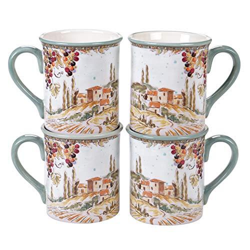 Certified International Tuscan Breeze 16 oz. Mugs, Set of 4, 5.25' x 3.75' x 4.25', Multicolored