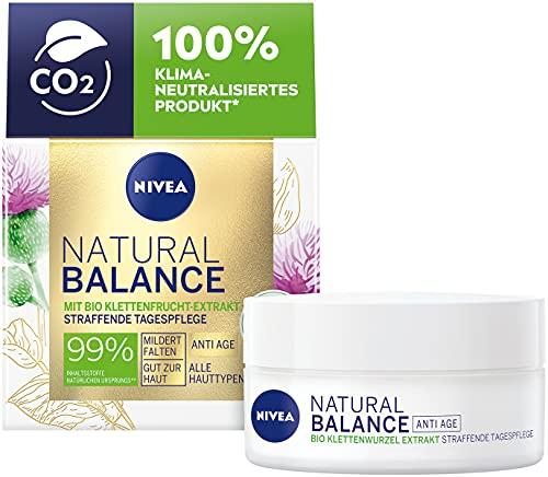 NIVEA Natural Balance Straffende Tagespflege (50 ml), Feuchtigkeitscreme mit Bio Klettenwurzel Extrakt, Anti-Age Tagescreme mildert Falten und Linien sichtbar