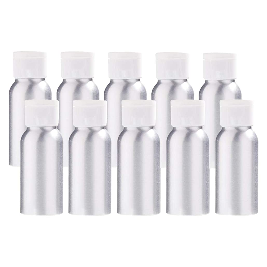 プレミアフォロー進行中BENECREAT 10個セット50mlアルミボトル フリップカバー空瓶 防錆 遮光 軽量 化粧品 アロマ 小分け 詰め替え 白いプラスチック蓋