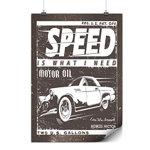Wellcoda Jahrgang Rennen Geschwindigkeit Auto Plakat Auto A3 (42cm x 30cm) Mattes schweres Papier, Ideal für die Gestaltung, Einfach zu hängen Kunst