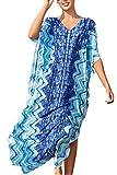 L-Peach Vestido Largo Kaftan de Playa Túnica Pareo Estampado Cover ups para Mujer