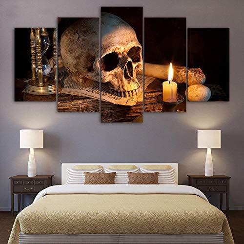 Kunstdruk Op Canvas Hd-Afbeeldingen Frameloze Schedel Brandende Kaars Abstract Olieverfschilderij Huismuur Art Deco Canvas Schilderij