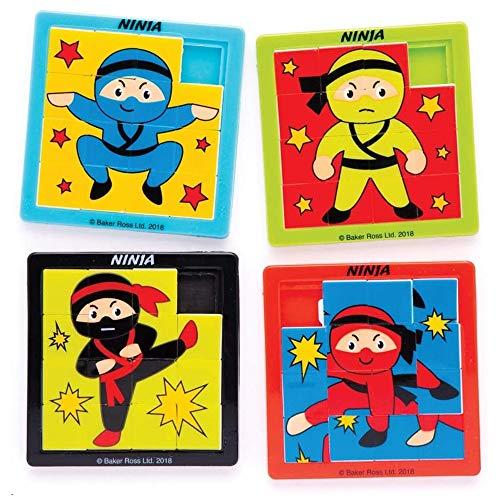 """Baker Ross Schiebepuzzles """"Ninja"""" (4 Stück) – perfekt als kleine Partyüberraschung oder als Geschenk für Kinder"""