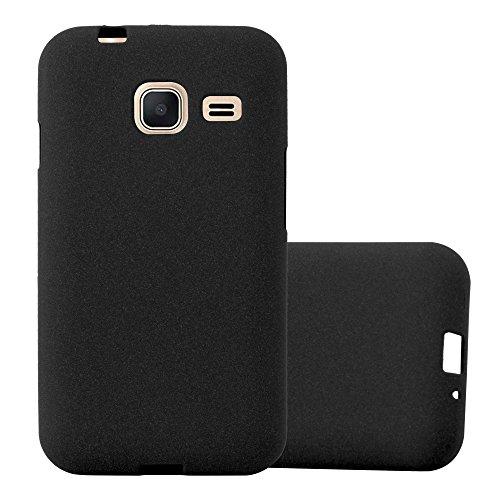 Cadorabo Funda para Samsung Galaxy J1 Mini 2016 en Frost Negro - Cubierta Proteccíon de Silicona TPU Delgada e Flexible con Antichoque - Gel Case Cover Carcasa Ligera