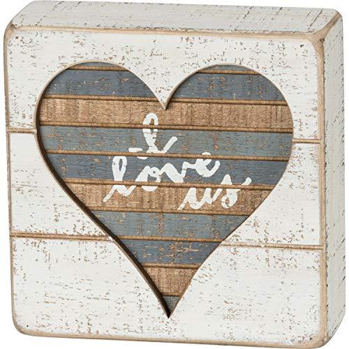 Primitives by Kathy Placa de caixa de ripas com letras à mão, I Love Us