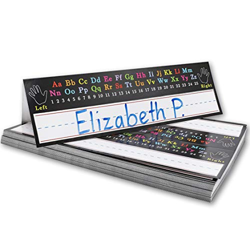 Juvale 72 Stück Student Klassenzimmer Schreibtisch Zelt Namensschilder Alphabet Design 29,5 x 17,8 cm