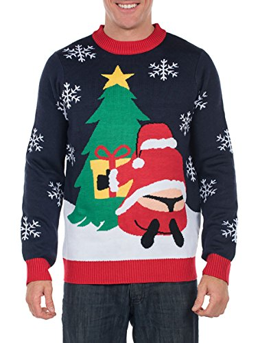 Tipsy Elves Men's Winter Whale Tail Santa Sweater - Funny Ugly Christmas Sweater: Large Blue