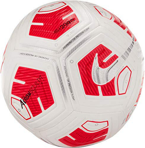 Nike Fußball Strike Team 290g Ball, White/Bright Crimson/Silver, CU8062-100, 5