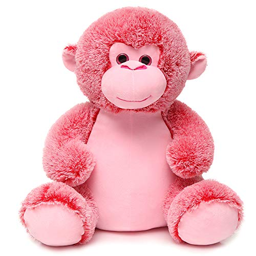 DOLDOA Soft Stuffed Animals Monkey Cute Plush Monkey Toy for Kids 18 inch (Pink)